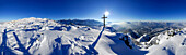 Snow-covered mountain scene, panorama from summit of Peterskoepfl, view to Pyramidenspitze in Zahmer Kaiser range, Wilder Kaiser range, Pendling, Bavarian foothills and fog bank in the valley of river inn, Peterskoepfl, Zahmer Kaiser, Kaiser range, Kufste