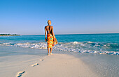 Woman on the beach of Playa Sirena, Cayo Largo, Cuba