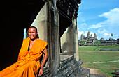 Monk at Angkor Wat Temple. Cambodia