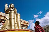 Novice monk praying in front of a giant buddha at Likkir Monastery. Ladakh. Jammu and Kashmir, India