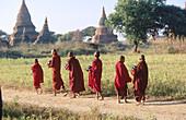 Young monks in morning alms. Bagan. Myanmar (Burma)