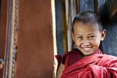 Bhutan. Paro. Paro Dzong Monastery. Little Buddhist monk.