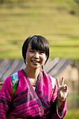 Yao minority girl. Longsheng terraced rice fields. Guilin. Guangxi Province. China.