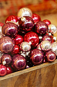 Ball, Balls, Celebrate, Celebrating, Celebration, Celebrations, Christmas, Christmas ornaments, Color, Colour, Decoration, Decorations, Heaped, Holiday, Holidays, Indoor, Indoors, Inside, Interior, Many, Object, Objects, Ornament, Piled up, Shine, Shinin