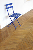 Absence, Absent, Blue, Chair, Chairs, Color, Colour, Concept, Concepts, Empty, Furniture, Indoor, Indoors, Inside, Interior, Parquet, Single, Vertical, G85-229608, agefotostock