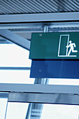 Blue, Blue tone, Color, Colour, Concept, Concepts, Daytime, Detail, Details, Door, Doors, Emergency exit, Emergency exits, Exit, Exits, Indoor, Indoors, Interior, Monochromatic, Monochrome, Safety, Security, Sign, Signs, Special effects, Symbol, Symbols,