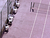 Chair, Chairs, Color, Colour, Compete, Competing, Competition, Competitions, Contemporary, Court, Courts, Daytime, Detail, Details, Empty, Exterior, Line, Lines, Match, Matches, Monochromatic, Monochrome, Net, Nets, Outdoor, Outdoors, Outside, Ready, Spo