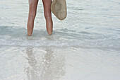Adult, Adults, Beach, Beaches, Color, Colour, Contemporary, Daytime, Exterior, Female, Fresh, Freshness, Girl, Girls, Hat, Hats, Headgear, Holiday, Holidays, Human, Leg, Legs, Leisure, One, One person, Outdoor, Outdoors, Outside, People, Person, Persons,