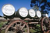 Wine barrels on wagon at Mt. Prior Vineyard. Victoria, Australia