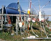 Gear for fishing with net, on land at a marina. The Kattegatt Sea, Bjäre Peninsula, Skåne, Sweden, Scandinavia, Europe.