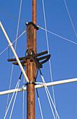Rope and mast on old sailing ship. Torekov. Skåne. Sweden