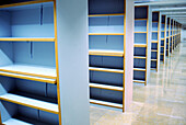 Bookcase, Bookcases, Color, Colour, Concept, Concepts, Corridor, Corridors, Empty, Horizontal, Indoor, Indoors, Inside, Interior, Libraries, Library, Many, Nobody, Perspective, Shelf, Shelves, Shelving, G96-213499, agefotostock