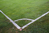 Angle, Angles, Color, Colour, Concept, Concepts, Corner, Corner arc, Corners, Daytime, Detail, Details, Exterior, Field, Fields, Football, Geometry, Grass, Horizontal, Lawn, Line, Lines, Outdoor, Outdoors, Outside, Right angle, Soccer, Sport, Sports, G96