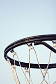 Basket, Basketball, Baskets, Blue, Blue sky, Close up, Close-up, Closeup, Color, Colour, Contemporary, Detail, Details, Exterior, Hoop, Hoops, Net, Nets, Outdoor, Outdoors, Outside, Skies, Sky, Sport, Sports, G96-408012, agefotostock