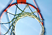 Aim, Aiming, Basketball, Close up, Close-up, Closeup, Color, Colour, Concept, Concepts, Daytime, Detail, Details, Exterior, Hoop, Hoops, Horizontal, Leisure, Low angle view, Net, Nets, Outdoor, Outdoors, Outside, Sport, Sports, Symbolic, Target, Targets,