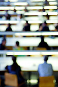 Blurred, College, College student, College students, Color, Colour, Concept, Concepts, Contemporary, Culture, Education, Focus, Focused, Human, Indoor, Indoors, Interior, Learn, Learning, Libraries, Library, Lights, People, Person, Persons, Silence, Silh