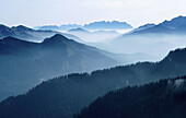 Alps, Bavaria, Calm, Calmness, Color, Colour, Daytime, Ecosystem, Ecosystems, Europe, Exterior, Fog, Germany, Horizon, Horizons, Horizontal, Immense, Immensity, Landscape, Landscapes, Mangfallgebirge, Mist, Mountain, Mountain range, Mountains, Nature, Ou