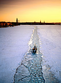 Channel through the ice. Stockholm. Sweden