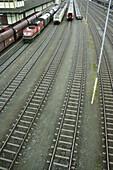 Railway tracks, Kufstein, Tyrol, Alps. Austria.