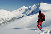 Dezaiko Range in the Rocky Mountains. British Columbia. Canada. Back country skiing in the rockies