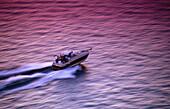 Speedboat on violet water. Lake Erie. Pennsylvania. USA