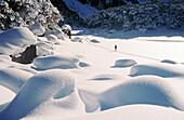 Skiing over powder snow. Frozen Lake Mackenzie. Fiordland National Park. South Island. New Zealand