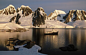 Private motor vessel Itasca anchored off Hovgaard Island. Antartic Peninsula