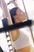 porary, Dark-haired, Daytime, Exercise, Female, Fit, Gesture, Gestures, Gesturing, Gym, Gymnasium, Gy