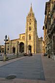 Cathedral at Plaza de Alfonso II el Casto. Oviedo. Asturias. Spain