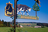 Sign post to vacation home, Black Forest, Baden-Wurttemberg, Germany
