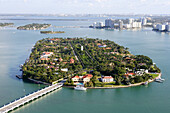 Aerial view of Star Island in the sunlight, Miami, Florida, USA