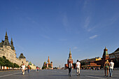 Red Square with GUM, Saint Basil's Cathedral, Saviour tower , Spasskaya, and the Lenin mausoleum, Moscow, Russia