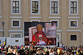 St. Peter's Square, video screen showing  Pope Benedict XVI during a mass, Rome, Italy, Europe