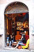 People at a bar at the district Trastevere, Rome, Italy, Europe