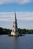 Belltower of St. Nicholas cathedral in the town of Kalyazin. The cathedral was flooded in 1940 during the construction of the Uglich reservoir, Kalyazin, Tver Oblast, Russia