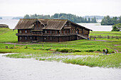 Wooden house on Kizhi island on lake Onega, the second biggest lake in Europe, Karelia, Russia
