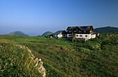 Alpine hut on alpine pasture, Klausenhuette, Klausenalm, Chiemgau range, Chiemgau, Upper Bavaria, Bavaria, Germany