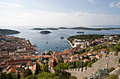 Spanjola Fortress and Hvar Harbor with Cruiseship Royal Clipper, Hvar, Split-Dalmatia, Croatia