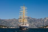 Sailing Cruiseship Royal Clipper (Star Clipper Cruises) at Anchor in Kotor Fjord, Kotor, Montenegro
