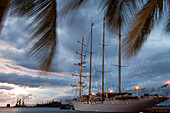 Sailing Cruiseship Star Flyer (Star Clippers Cruises) in home port of Papeete, Papeete, Tahiti, Society Islands, French Polynesia