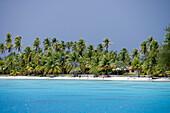 Menschen laufen am Strand vom Fakarava Atoll, Fakarava, Tuamotu Inseln, Französisch Polynesien, Südsee