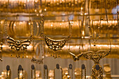 Gold jewellery in a shop window at a Jewellery Shop at Souq al-Hamidiyya covered market, Damascus, Syria, Asia