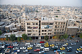 Afternoon traffic jam, busy main road in Aleppo, Syria, Asia