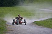 Man riding a bullcart, amusement park Brauneck, Lenggries, Bavaria, Germany