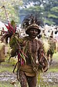 Man wearing headdress at Singsing Dance, Lae, Papue New Guinea, Oceania
