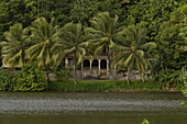 Colonial style house at a lagoon, Pohnpei, Micronesia, Oceania