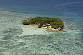 Aerial view of a deserted island with houses of fishermen, Pohnpei, Micronesia, Oceania