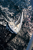 Aerial view of a sailing boat at full speed, Iles d'Hyeres, France, Europe