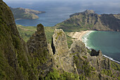 Aerial view of pinnacles and a bay, Haa'atuatua, Nuku Hiva, Marquesas