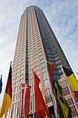 International flags near Fair Tower, Frankfurt, Hesse, Germany